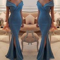 Elegante vestidos de noite muçulmanos 2021 sereia fora do ombro longo vestido de noite sexy fenda v-pescoço vestido de baile abiye gece elbiseyi