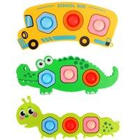 Fidget Toy Baby Bus Crocodile Caterpillar Pop Bubble Fidgets Sensory Newest Design Silicone Stress Reliever Cute Toys Set