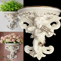 European Home Decoration Stickers Angel Three-dimensional Wall Background Mural Craft Decoration Resin Wall holder Hanging Shelf T200111