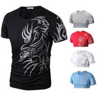Heiße neue mode marke t shirts für männer neuheit dragon druck tatoo männlich o neck t shirts männer t shirt