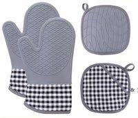 Forno Mitts e Pot Holders Set Set di cucine da cucina Tappetini da banco sicuri Avanzato Resistente al calore Guanti da forno antiscivolo Grip con texture BWA5124