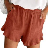 Women's Shorts 2021 Women Summer Cotton Casual Solid Color High-Waist Linen Clothes Y2k Pocket