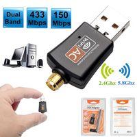 محول USB WIFI 600MB / S اتصال إنترنت لاسلكي مفتاح بطاقة شبكة الكمبيوتر المزدوج الفرقة 5 جيجا هرتز LAN Dongle Ethernet استقبال AC