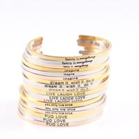 الأزياء والمجوهرات الفولاذ المقاوم للصدأ التيتانيوم الفضة روز الذهب رسالة معرف الإسورة سوار 2021 أساور مانترا ملهمة