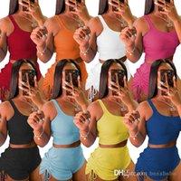 Yaz Kadın Tracksuits Yoga Kıyafetler Kısa Kollu T-shirt + Şort Katı Renk 2 Parça Jogger Setleri Spor Giysileri Artı Boyutu