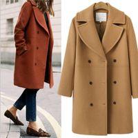 Damska wełniana mieszanka zimowa płaszcz i kurtka kobiety koreański długi ciepły elegancki czarny vintage peleryna żeńska krowa wiatrówka