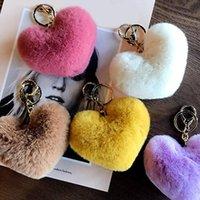 Pièces de sac Accessoires Keychain Fashion Stéréo Key Anneau Creative Mobile Téléphone Voiture Pendentif Pom Coeur Mignon Love Acces