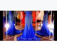 Purple Prom Dresses Royal Blue Fuchsia White Pageant Dress Cap Sleeves Open Back Sweetheart Neckline Mermaid Evening Gowns Crystal Beaded