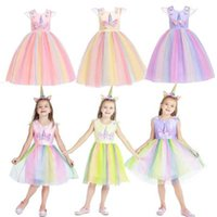 Ins Mädchen-Einhorn-Cartoon-Kleid Netter Regenbogen-Mesh-Tutu-Rock-Knie lange ärmellose Prinzessin Party Kleider Weihnachtsabend Halloween Cosplay Kleidung G863A2F