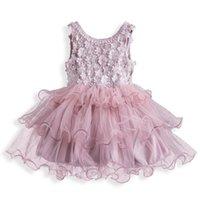 Girl's Dresses Kid Girl Summer Vest Dress Flowers Appliques Vestidos Birthday Wedding Party Clothes Fancy Soild Causal Gown For Children Gir