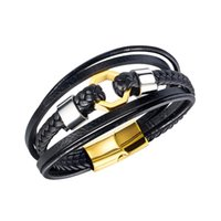 Genuine Braided Leather Bracelet For Men Stainless Steel Magnet Clasp Charm Woven Bangle Trendy Male Wristband Jewelry Hip-pop Mans Bir Diig