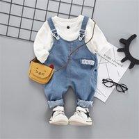 İlkbahar Sonbahar Bebek Giysileri Takım Elbise Bebek Kız Erkek Giyim Setleri Moda T Gömlek Denim Önlüğü Pantolon 2 ADET Çocuk Çocuk Kostüm