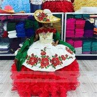 Red White Ruffles Skirt Flower Girl Dresses 2022 Luxury Princess Embroidery Floral Little Girls Infant Birthday Communion Pageant Dress Wear