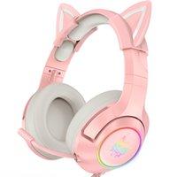 K9 gato orejas niña auriculares catear diversión auriculares juegos de juego con micrófono RGB Luminoso música estéreo Reducción de ruido Auriculares