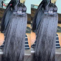 Straight Tape In Human Skin Weft Extensions Adhesive Invisible Brazilian Bulk Virgin Hair Black Ever Beauty
