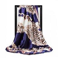 الأوشحة السيدات مربع وشالات الحرير الحرير الحجاب وشاح المرأة أزياء ليوبارد طباعة النطف 90x90 سنتيمتر باندانا رئيس الرقبة وشاح