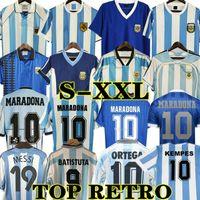 Maradona 1978 1986 rétro Argentine Soccer Jersey Classic 96 97 1994 1998 Newells Vieux garçons Chemise de football Vintage Messi Riquelme Crespo Tevez Ortega Batistuta Kempes