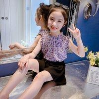 Baby Girl Одежда набор VLINDER Летнее 2021 Кружева Цветочный с коротким рукавом Розовая футболка Сетка Сетка Одежда для юбки для 4 5 6 7 8 10 11 12 Год х 10401