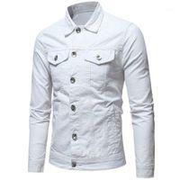 Männer Denim Jacke Herbst dünne Mantel casual Turn-Down-Kragen Langarm Bomber Jacken Mode Streetwear Slim Cool Outwear1