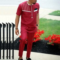 H &D African Men Clothes Suit Short Sleeve T Shirt Pants Set Traditional Attire White Embroidery Red Camisa Africana Masculina