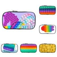 Cremallera moneda cartera caja de lápiz niños lindos monederos estudiante papelería bolsa de almacenamiento 3d arco iris empuje pop fidget rompecabezas juguetes impresos cosméticos