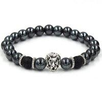 Svart hematit Beaded Strands Stone Lava Rock Bracelets Alloy Guldpläterad Silver Skull Lion Owl för Kvinnor Män Armband Partihandel