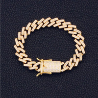 9  12  14  16  18mm Width 20  23cm Length Mens Bracelets Chains Iced Out Jewelry Diamond Rhinestone Bling Hip Hop Miami Clasp Stainless Steel Link High Polished Gold  Silver