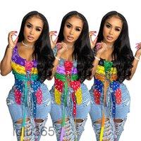 3 ألوان المرأة أزياء بلا أكمام اللون مطابقة الأزهار ضمادة أعلى صيف جديد مصمم نمط مثير الربط أكمام سليم الملابس