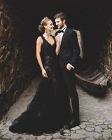 Black Lace Mermaid Gothic Wedding Gowns Modest Appliques Slim Bridal Dresses Sexy Backless Customized Long Vestidos De Marriage