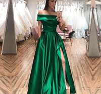 Green Satin Mother of the Bride Dresses for Wedding Party Off Shoulder Sexy High Split A Line Floor Length 2022 Evening Gowns Plus Custom Size