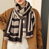 Scarves Designer Geometric Stripes Tassel Cashmere Shawls Winter Double-sided Scarf Brand Warm Neck Bandana Pashmina
