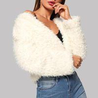 Women's Jackets Women Autumn Winter Long Sleeve Turn-Down Collar Warm Plush Fashion Short Coat Thick Teddy Bear Pocket Fleece Soft #7