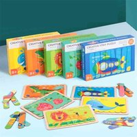 Wooden Toys Jigsaw Puzzle Creative Strip Puzzles For Kids Montessori Toy for Children Cartoon Wooden Puzzle Set Educational Toy 201218