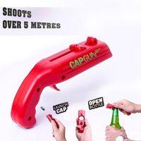 بندقية البيرة المحمولة الإبداعية تحلق كاب بندقية زجاجة البيرة فتاحة مشروب كاب قاذفة شكل زجاجة أغطية مطلق النار الأحمر رمادي بار أداة