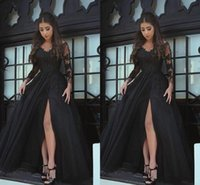 Modern Black Sheer Long Sleeves Plus Size Prom Evening Dresses Applique Lace High Side Split Custom Made Formal Dress Party Gowns