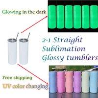 20oz Sublimation UV Color Cambio de color resplandor Skinny Tumblers rectos al por mayor Botella de agua de acero inoxidable Transferencia de calor Doble Aislamiento A12