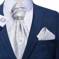 Bogen krawatten männer luxus silber paisley seide ascot tie set hochzeit party cravat handherchief manschettenknöpfe krawatten ring sets dibangu