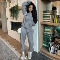 Women's Two Piece Pants HAOYUAN Casual Sweat Suit Long Sleeve Pullover Tops Sweatpants For Women Fall Outfits Lounge Tracksuit Matching Sets