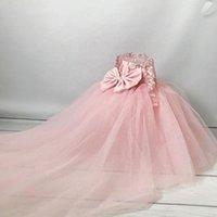 블러쉬 핑크 레이스 꽃 소녀 드레스 드레스 공 가운 깎아 지른 넥 페르시 스팽글 바닥 길이 긴 소매 lillttle 키즈 생일 미인 웨딩 가운 사용자 정의