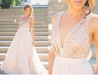2019 Modern Sheer Rose Gold Sequins bridesmaids dress Blush Pink Tulle Backless A-Line V-Neck Sash Bow Sexy Beach Summer Bridal Gowns
