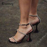 Dress Shoes Rxemzg Fashion Rhinestones Open Toe High Heels Sandals Women Summer Party Thick Crystal Ankle Strap Ladies Silver