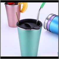 Mugs Stainless Steel 500Ml St Large Cup With Lid Coffee Mug 5 Colors Beer Tea Juice Milk Drink Tumbler Outdoor Camping Travel Dh12611 Lavem
