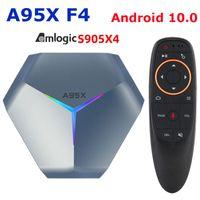 A95X F4 Android 10 TV Box Amlogic S905X4 SMART 4K 4GB RAM 32GB 64GB 128GB ROM 2.4G / 5GHZ WIFI + G10S التحكم الصوتي