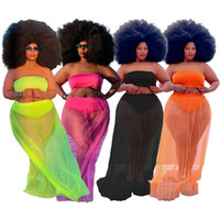 Women's Tracksuits RStylish Plus Size 2021 Women Clothing Solid Strapless Crop Tops Mesh See-Through Loose Skirts Summer 2 Piece Sets