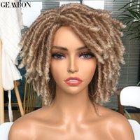 Kısa Dreadlock Peruk Kıvırcık Sentetik Yumuşak Faux Locs Peruk Siyah Kadınlar Için Ombre Sarışın Kahverengi Tığ Twist Saç 14 inç