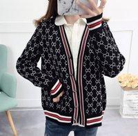 Camisola feminina design de luxo de malha casaco de cardigan casaco de inverno listra solta macio por atacado feminino nova manga longa malhas de manga longa