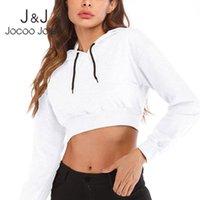 Women's Hoodies & Sweatshirts Jocoo Jolee Autumn Crop Tops Women Casual Solid Long Sleeve Vintage Vintgae Loose Hooded Clothing