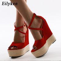 최고 품질의 새로운 여성 짚 여름 샌들 여자 플랫폼 웨지 하이힐 파티 레드 여성 신발 크기 41 42