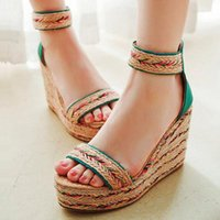 Dress Shoes EAGSITY Bohemia Wedges Sandals Platform High Heel Pumps Ankle Strap Open Toe Beach Wedding Espadrilles Women