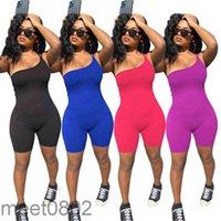 Popular 2021 Verão Novo Estilo De Moda Suspensão Sólida Cor Bodysuit Designer aberto Ombro Stretch Stretch Calças de Esportes Calças Macacões Macacões